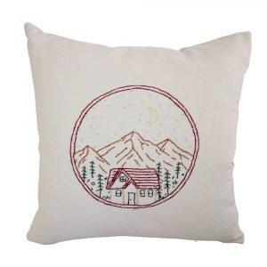 cuscino ricamato montagna